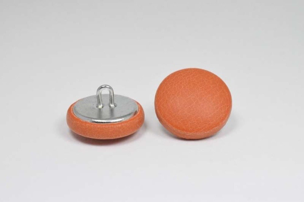 Bouton recouvert de cuir - croûte de cuir - orange