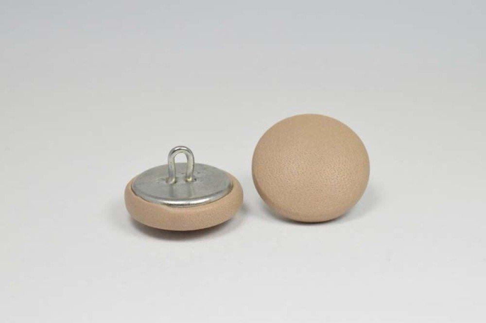 Bouton recouvert de cuir - veau - argile