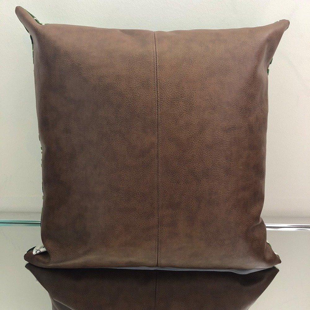 Coussin carré feuillage et simili cuir