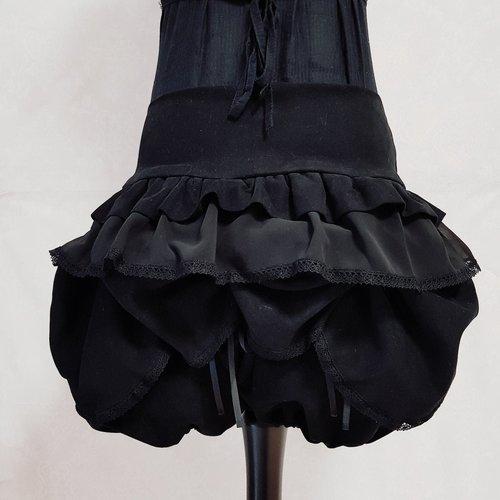 Bloomer coton noir dentelle fleur effet faux cul shabby ruban bouton ancien vintage antique style rétro victorien steampunk sarouel short