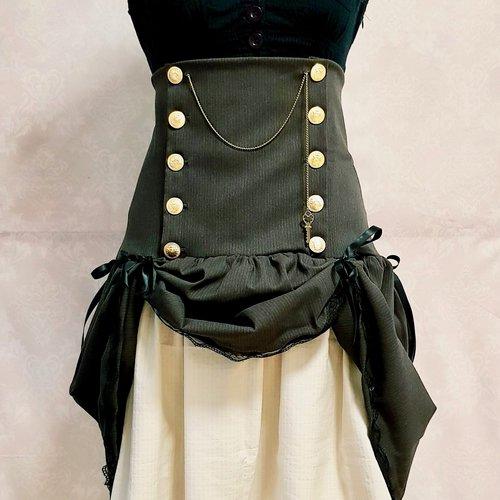 Jupe ajustable steampunk taille haute marron rayure effet faux cul jupon beige dentelle beige ruban satin noir serrage corset bouton métal