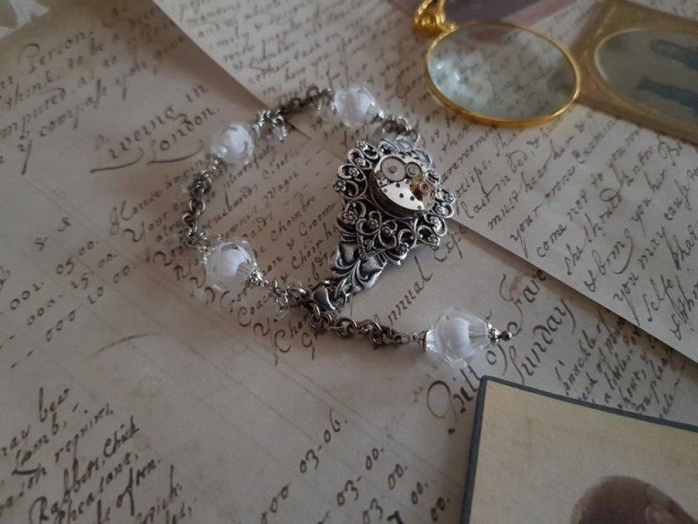 Bracelet original réglable ajustable steampunk vintage antique style rétro support cabochon mécanisme montre engrenage rouage perle