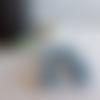 Connecteur perle ronde en bois perlée, tissée de rocailles bleu clair