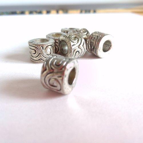 Perle charm arabesques en métal argenté antique 10mm