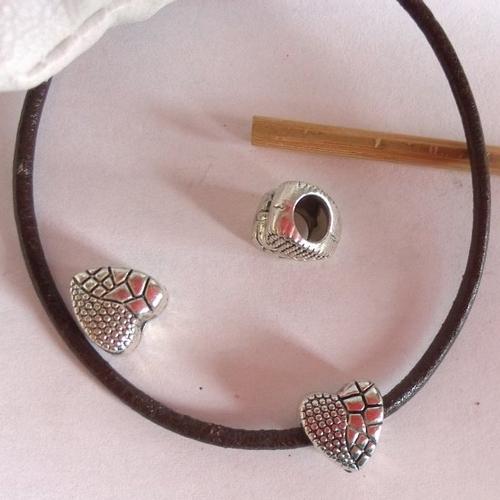 Perle charm coeur en métal argenté antique 9 mm