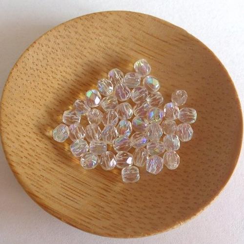 Lot de 10 perles olive transparentes à facettes 4x3mm