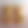 Lot n°3 de 4 boutons floraux en bois fond beige 18mm