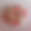 Bouton rond en bois motif fleurs rouges sur fond blanc - 30mm / 3cm - tricot, scrapbooking