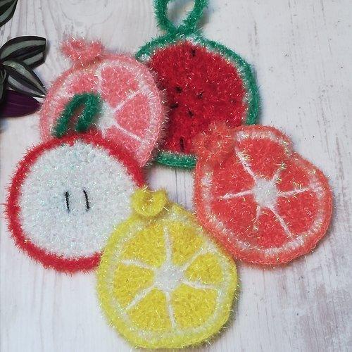 Eponge tawashi fruit, pour vaisselle ou corps, rondelle grand modèle tranche de fruit, fait main au crochet,