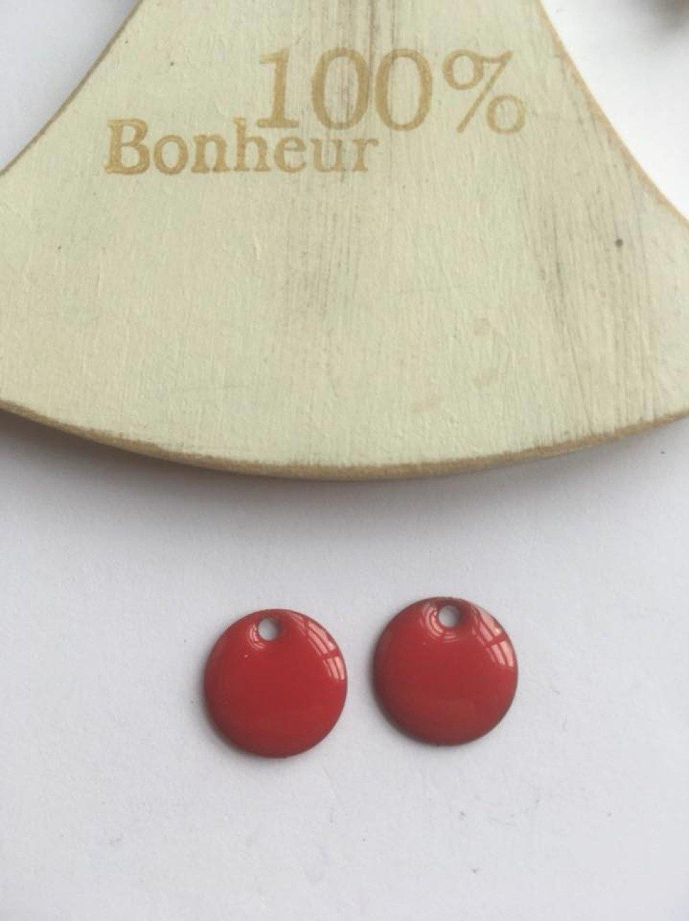 Lot de 2 breloques rondes émail en rouge 13mm