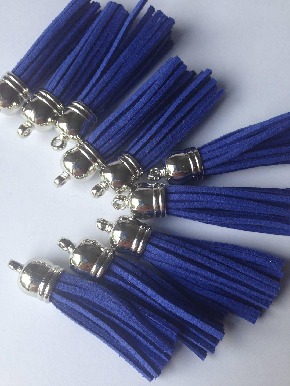 Pompon suédine bleu Grand format embout argenté x1