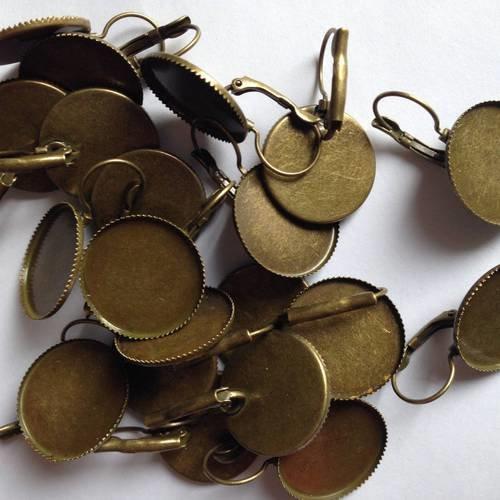 Boucles d'oreilles dormeuses en bronze cabochon rond 20mm
