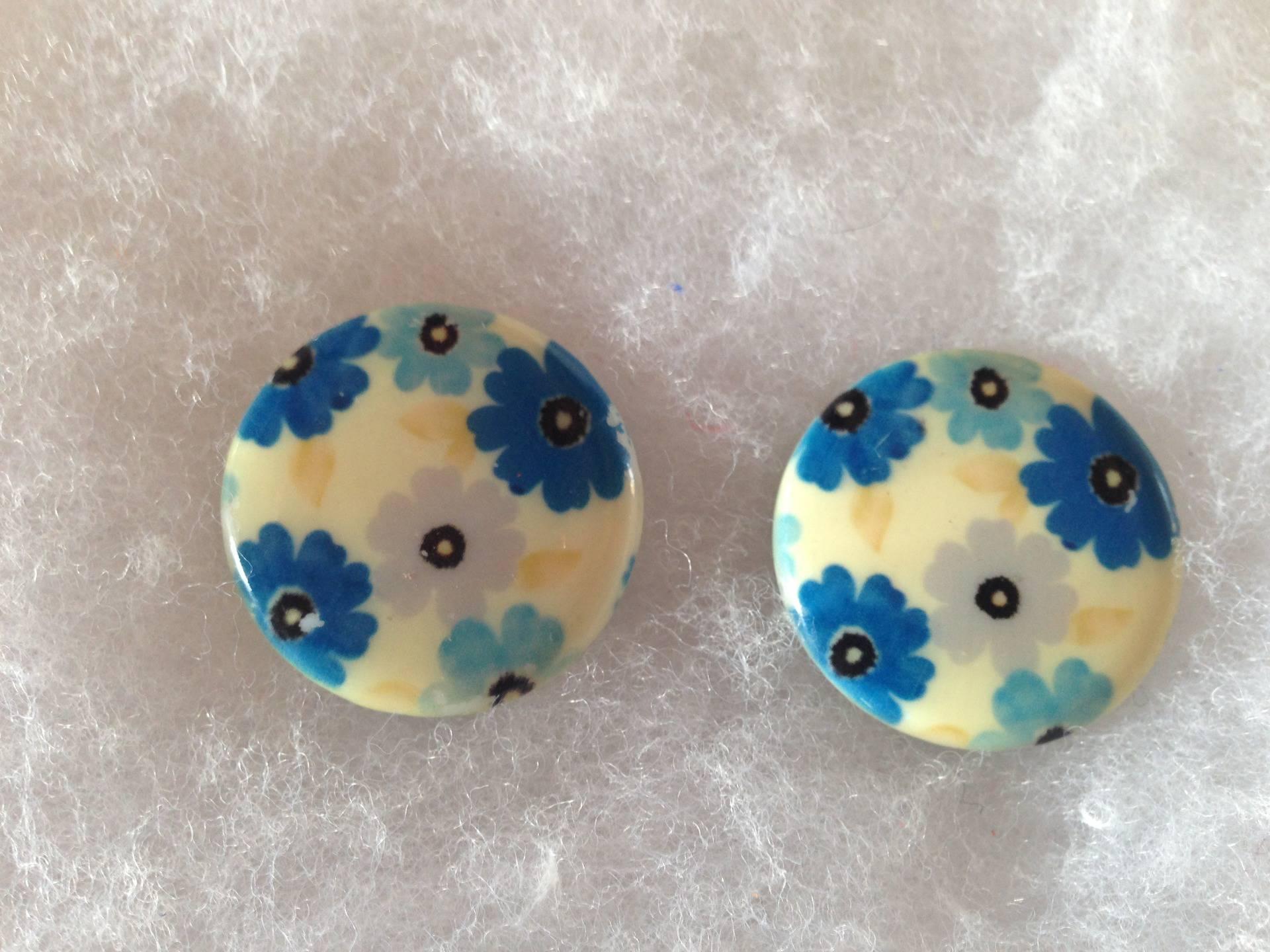 Perles rondes nacre fleurs bleues x2
