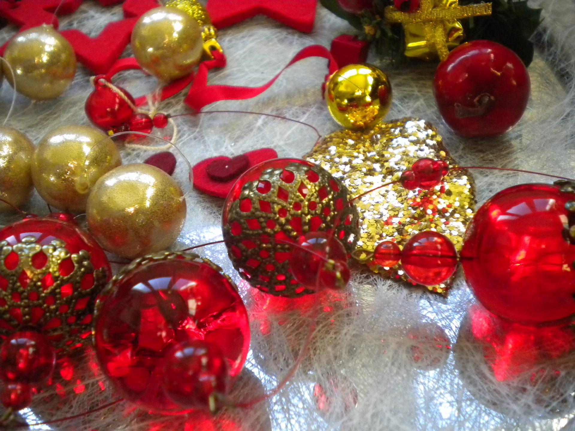 Lot de décorations de Noël Métal et feutrine rouge et doré x20