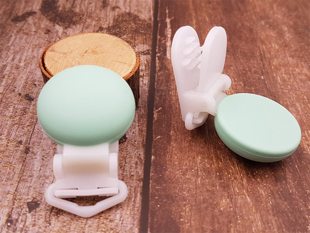 Pince // Clip en silicone Papillon : Turquoise attache tétine passant de 20 mm