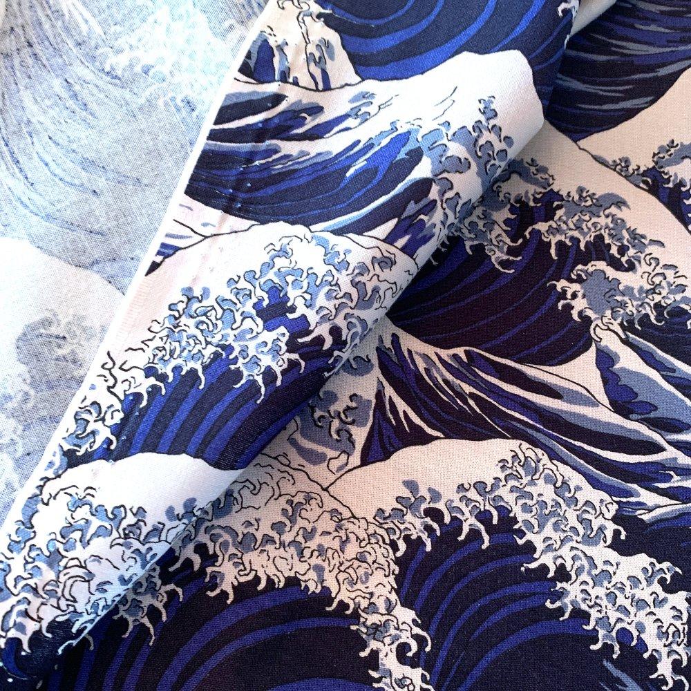 Tissu japonais, motif traditionnel, vague bleu UKIYOE, coton 110x50 (386A)