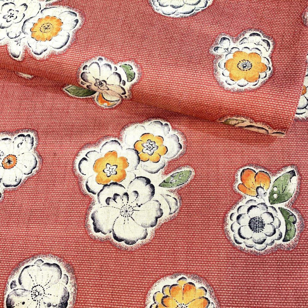 Tissu japonais, motif traditionnel, fleurs, fond rouge, coton 110x50 (389A)