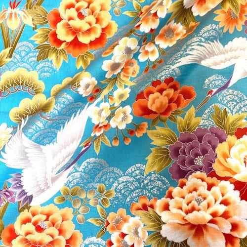 Tissu japonais, motif traditionnel grue, fond bleu, coton 110x50 (295f)