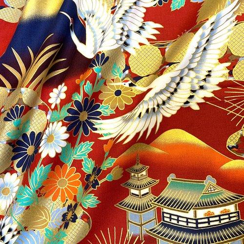 Tissu japonais, motif traditionnel grue et fleurs, fond rouge, coton 110x50 (345b)