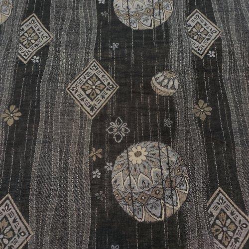Tissu japonais, jacquard, motif traditionnel, noir, gris et beige, coton 112x50 (337d)