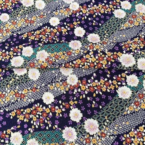 Tissu japonais, motif traditionnel, chirimen (crêpe) 115x50 (501f)