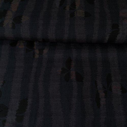 Tissu japonais, motif traditionnel, fleurs, fond noir, coton 110x50 (392)