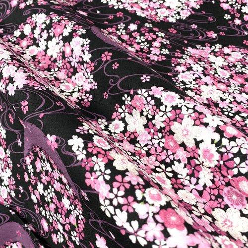 Tissu japonais, motif traditionnel fleurs de cerisier rose, fond noir coton 110cmx50cm (n497)
