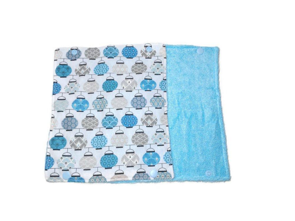 Feuilles d' essuie tout lavable x2 et réutilisable. Modèle lanternes bleue