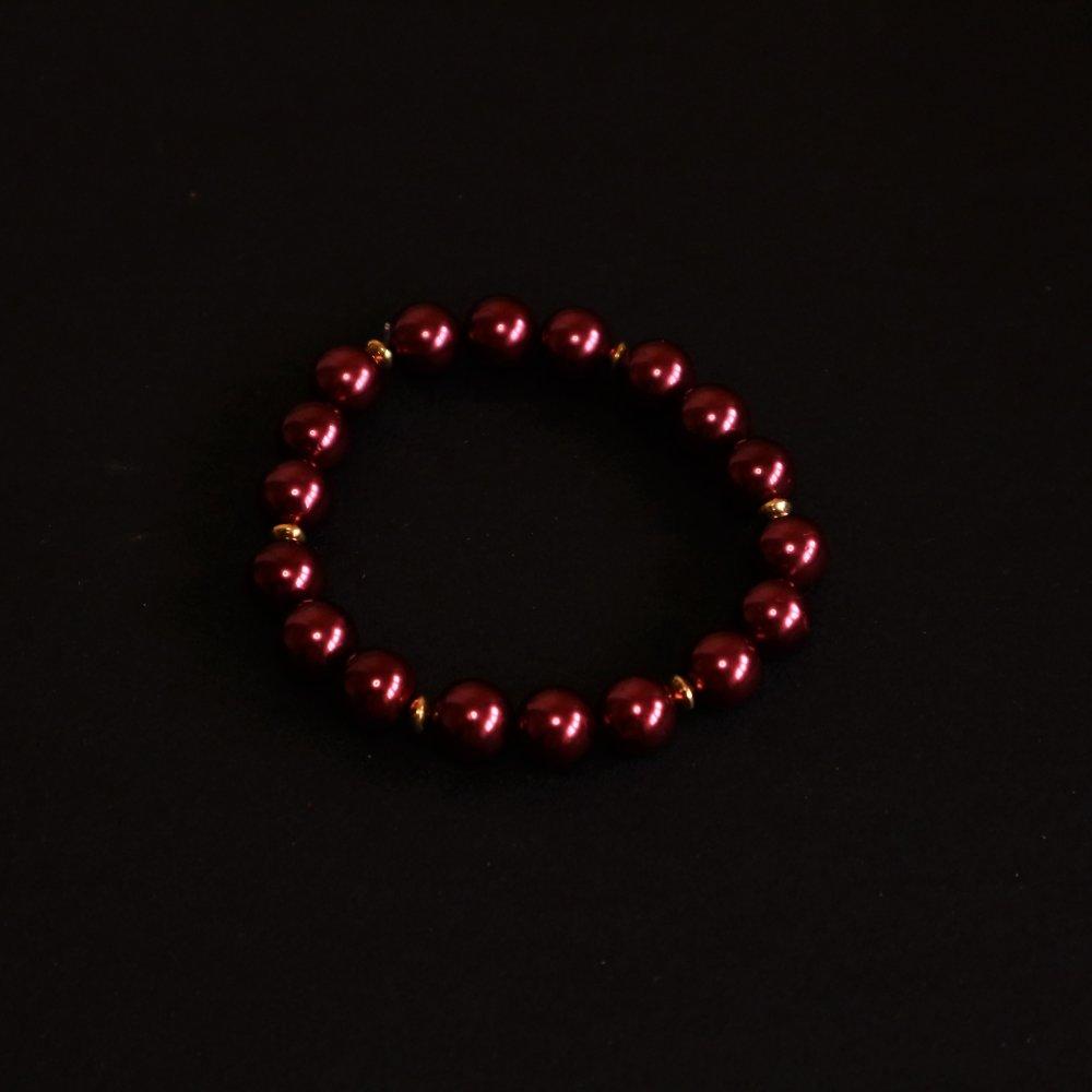 Bracelet de perles nacrées rouges