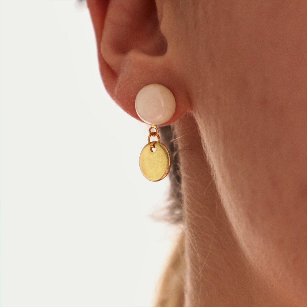 Boucles d'oreilles perles en jade blanche