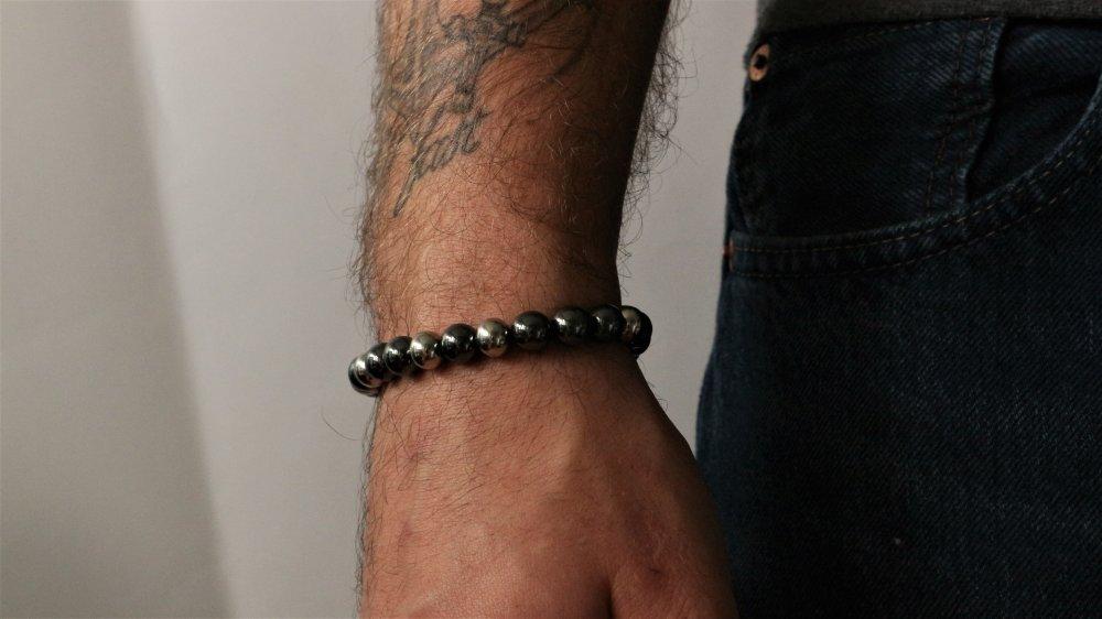 Bracelet perles hématite mixte