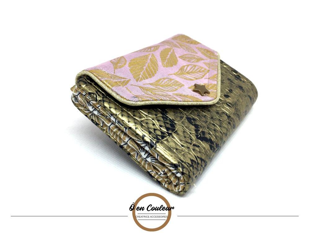 Portefeuille tout en un à soufflet / porte monnaie / porte carte - Feuille d'or rose pâle
