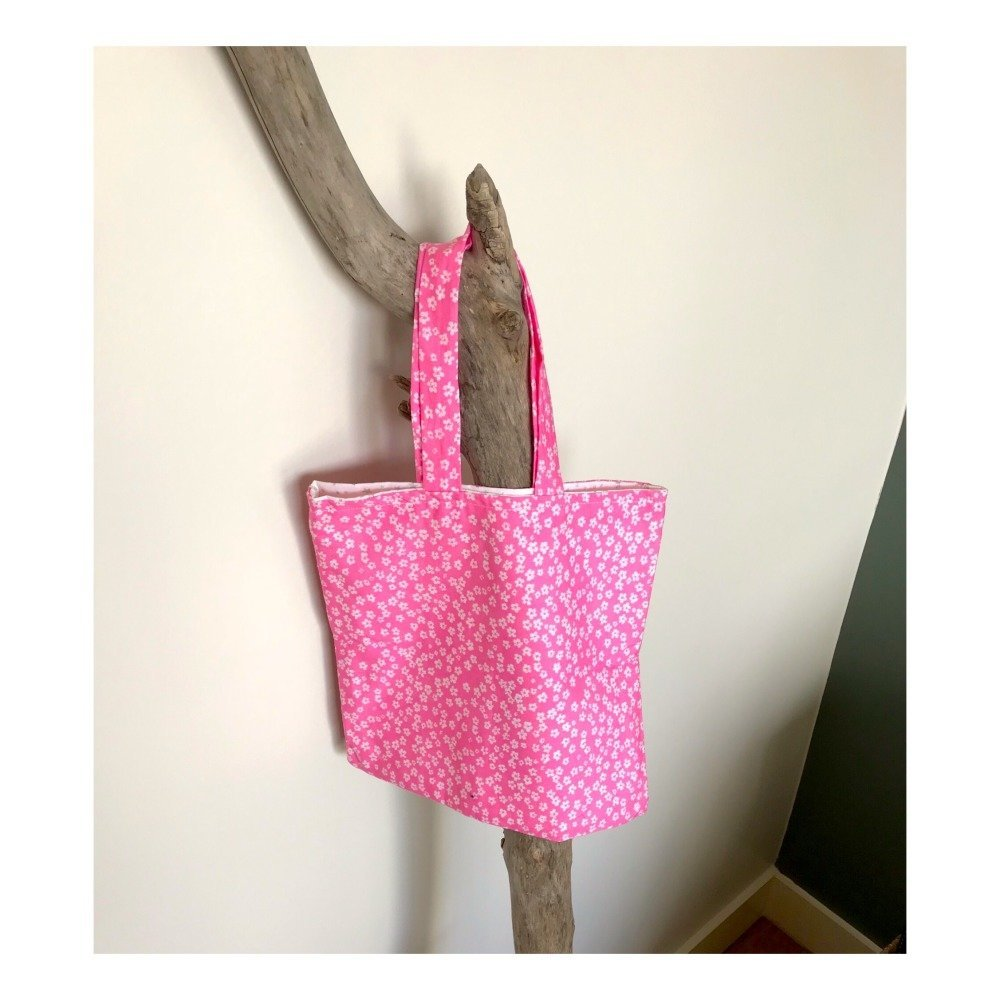 Sac tote bag enfant à fleurs roses
