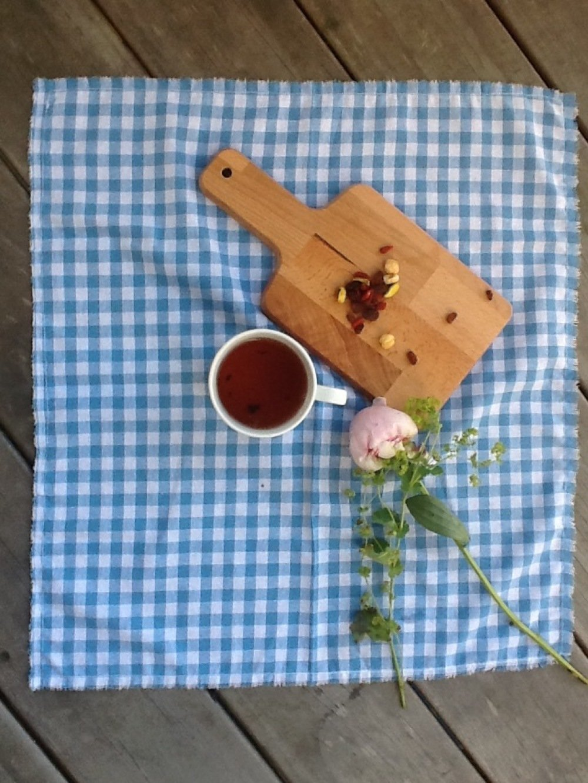 Serviette ou set de table vichy bleu ciel