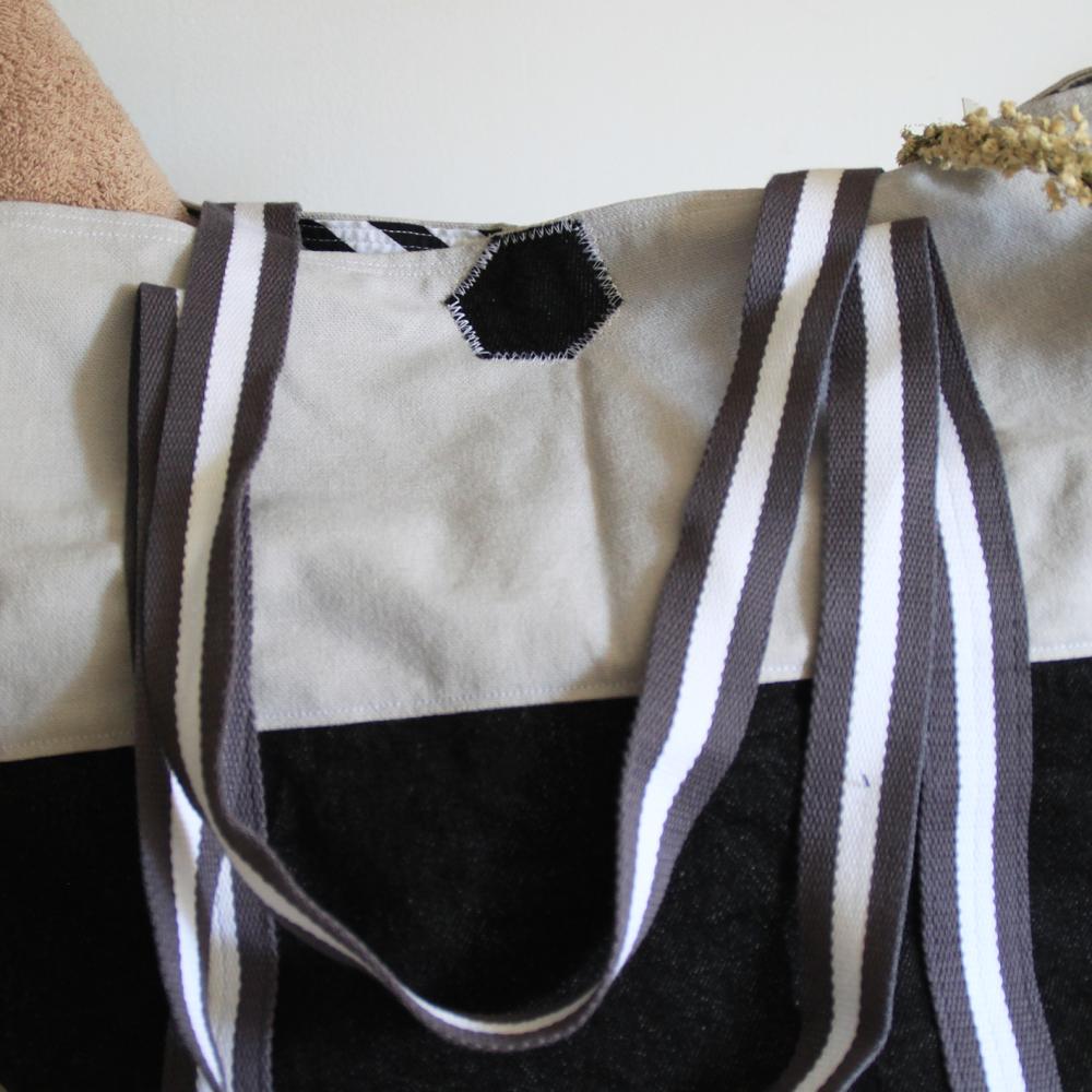 Grand sac cabas, sac de plage, en coton gris et jeans