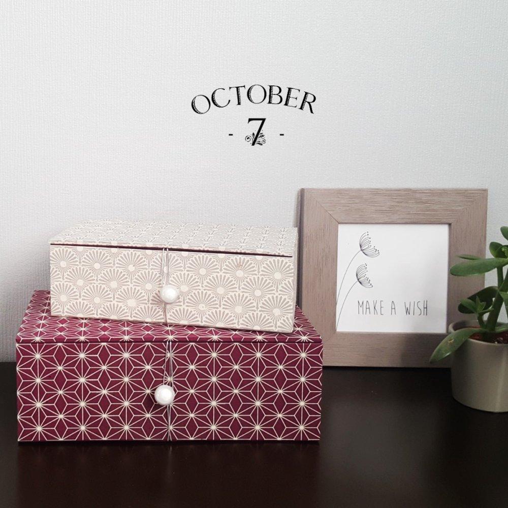 Boites Gigognes, boites de rangement de forme rectangulaire, coloris prune, argent et blanc