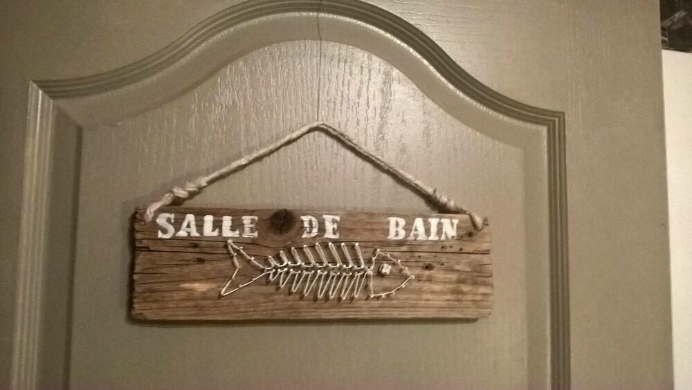"""Plaque de porte """"salle de bain"""" en bois flotté"""
