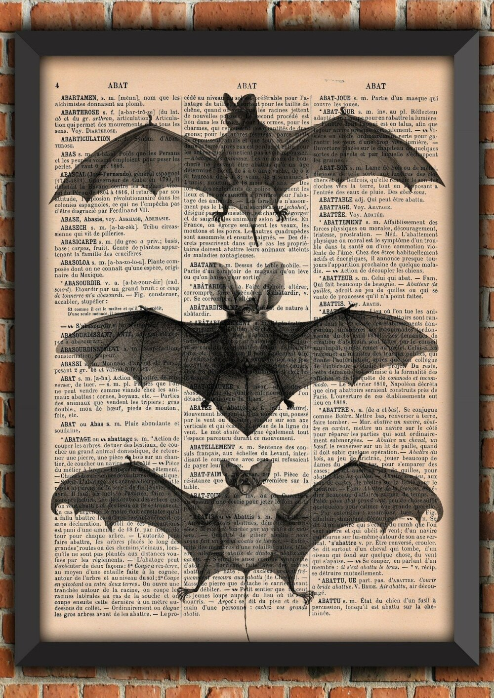 Cabinet de curiosités Chauve Souris Bat Gothique Victorien Vintage Décoration Murale Cadeau Poster Original Dictionnaire Page