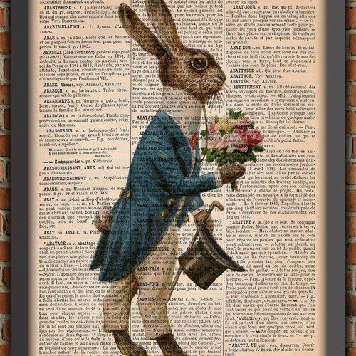 Lapin alice aux pays des merveilles animal oreilles ferme  victorien vintage décoration murale cadeau poster original dictionnaire page