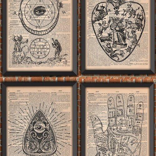 Lot 4 affiches occulte main grimoire divination sorcellerie magie noire satanisme alchimie ouija vintage original sorcière
