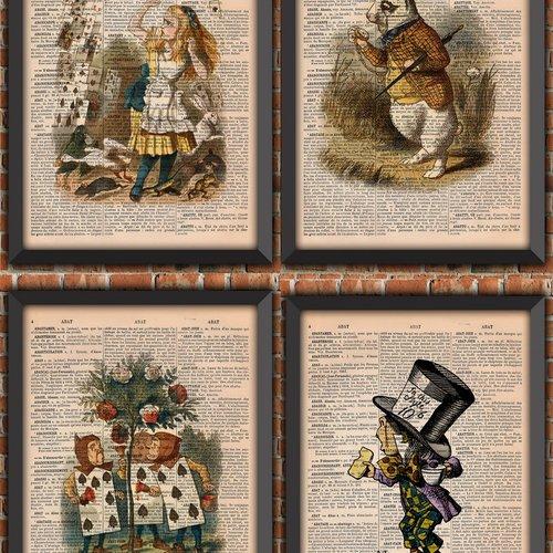 Pack  affiches alice au pays des merveilles décoration murale cadeau poster littérature original vintage dictionnaire