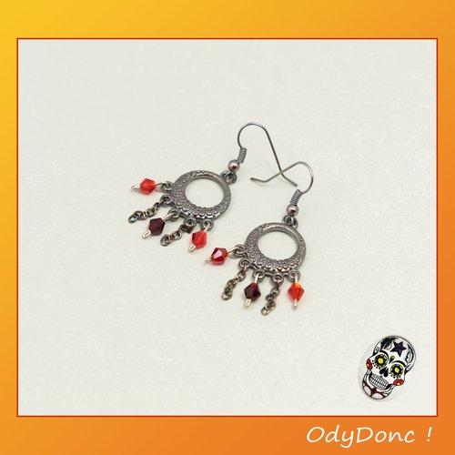 Boucles d'oreilles enfant tendance ethnique minimaliste noir et rouge