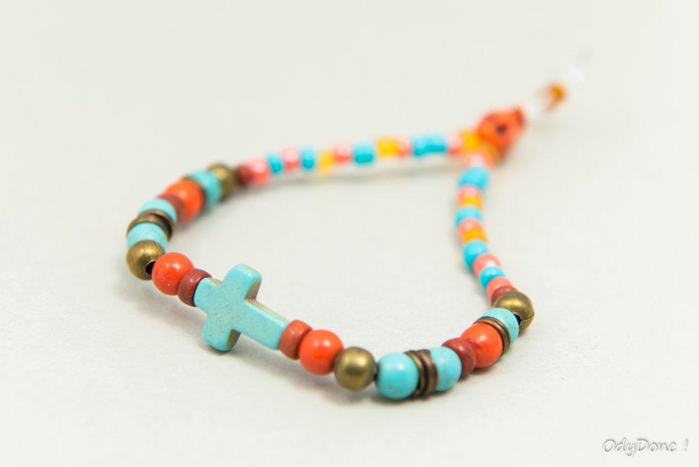 Bracelet Mixte Unisexe Hippie Bohème Perle Pierre Naturelle Howlite Croix Bleu