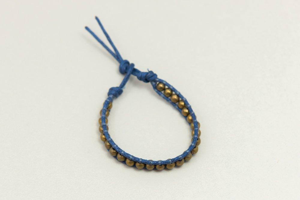 Bracelet Wrap Mixte Unisexe Perle Métal Bleu Jean et Bronze