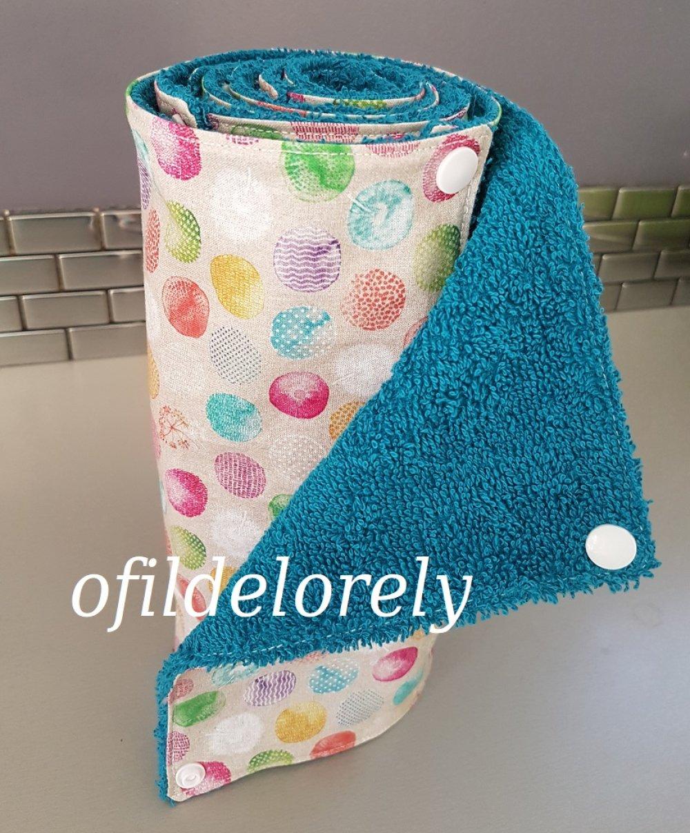 essuie-tout réutilisable modèle bulles multicolores /turquoise