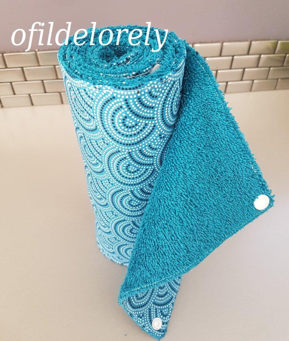 essuie-tout réutilisable 6 feuilles modèle mozaique turquoise