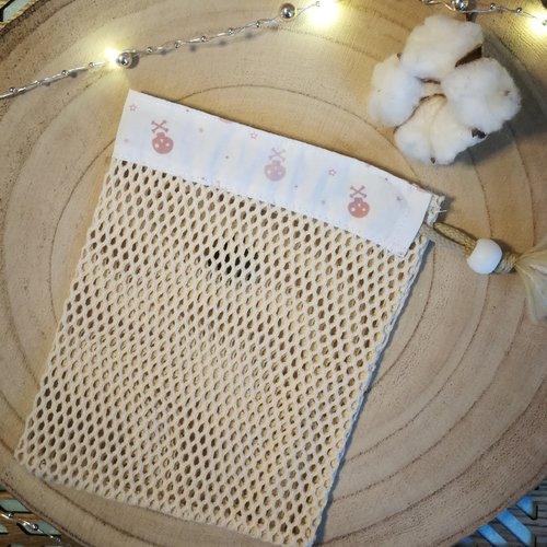 Filet de lavage coton oeko tex/filet bio motif têtes de mort roses