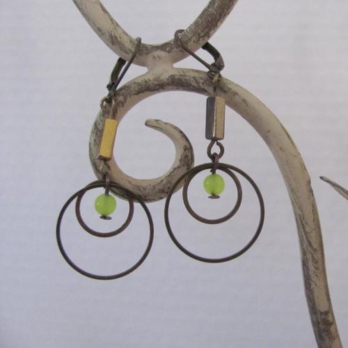 Boucles d'oreille anneaux et jade