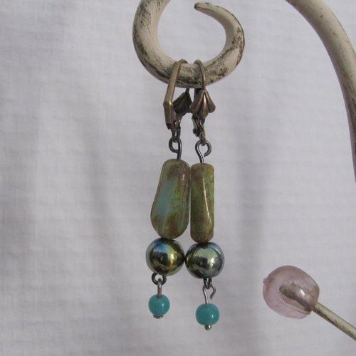 Boucles d'oreille pendantes verre tchèque