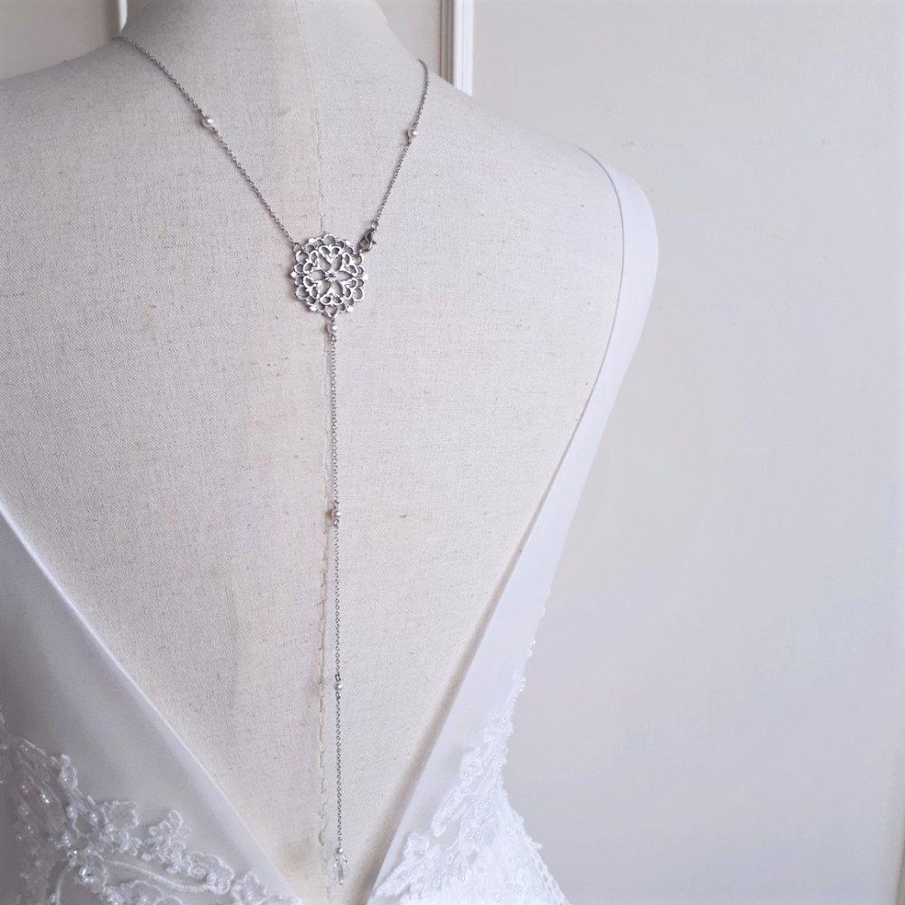 Emma - collier bijou de dos argenté avec perles swarovski pour  mariage,collier de dos mariée,bijoux mariage retro chic,vintage
